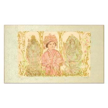 """Edna Hibel (1917-2014), """"Willie and Two Quan Yins"""" Ltd Ed Lithograph, Numbered and Hand Signed with Certificate."""