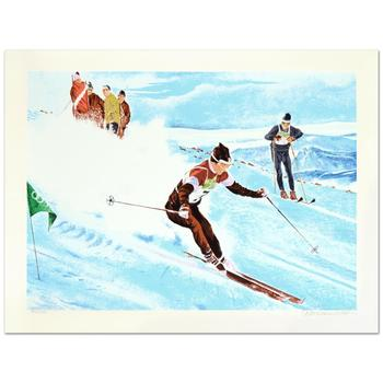 """William Nelson, """"Olympic Skier"""" Limited Edition Serigraph, Numbered and Hand Signed by the Artist."""