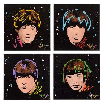 """""""4 Panel Beatles Set"""" Original Acrylic Painting on Gallery Wrapped Canvas by KAT, Hand Signed with Certificate."""
