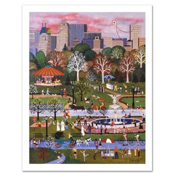 """Jane Wooster Scott, """"Springtime in Central Park"""" Ltd Ed Lithograph, Numbered and Hand Signed with Certificate."""