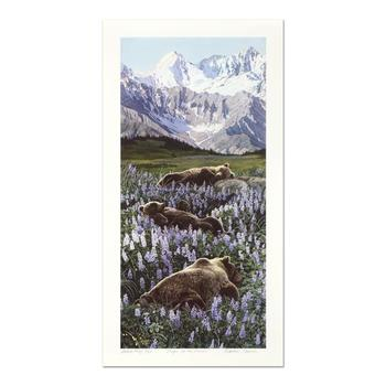 """Charles Gause, """"Loafing in the Lupine"""" Limited Edition Lithograph, AP Numbered 6/25 and Hand Signed."""