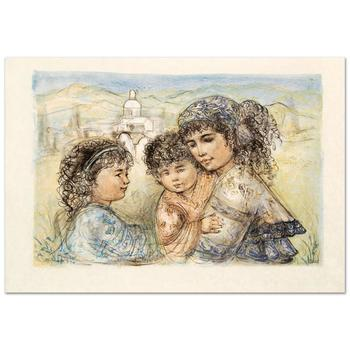 """Edna Hibel (1917-2014), """"Zalina with Aries and Ande"""" Limited Edition Lithograph, Numbered and Hand Signed with COA."""