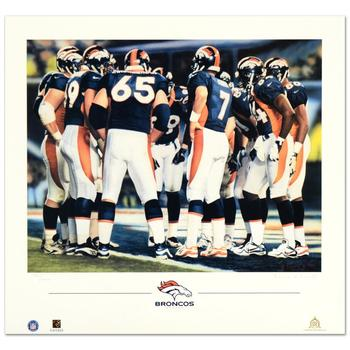 """Daniel M. Smith, """"The Huddle VIII (Broncos)"""" Limited Edition Lithograph, Numbered and Hand Signed with Certificate."""