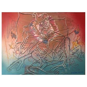 "Mark Kostabi, ""Let'S See How Many Likes We Have"" Mixed Media Original Painting; Hand Signed; COA"