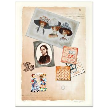 """Arie Azene, """"Family Album II"""" Limited Edition Lithograph, Numbered and Hand Signed with Certificate."""