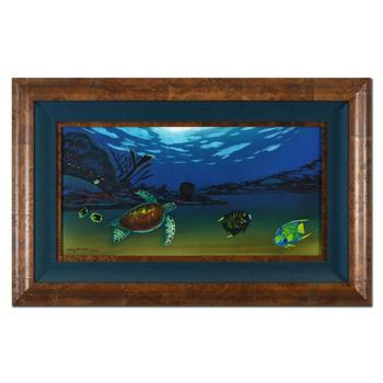 """Wyland, """"Undersea View (With Reef)"""" Framed Original Oil Painting on Canvas, Hand Signed with Certificate of Authenticity."""