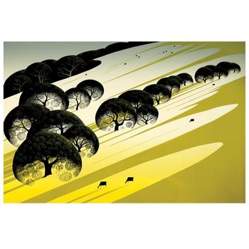 """Eyvind Earle (1916-2000), """"Cattle Country"""" Limited Edition Serigraph on Paper; Numbered & Hand-Signed; COA."""