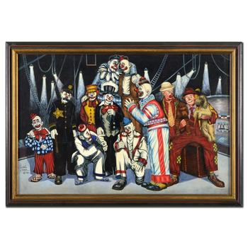 "George Crionas (1925-2004), ""The Whole Motley Crew"" Framed Original Acrylic Painting on Canvas, Hand Signed with LOA."