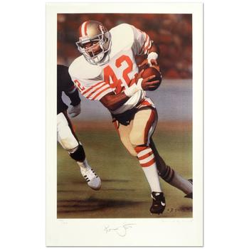 "Daniel M. Smith, ""Ronnie Lott"" Ltd Ed Lithograph, Numbered and Hand Signed by the Artist and Ronnie Lott, w/Certificate."