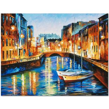 "Leonid Afremov ""Evening River"" Limited Edition Giclee on Gallery Wrapped Canvas, Numbered and Signed; COA."