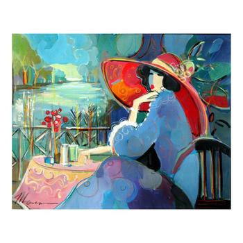 """Isaac Maimon, """"Angelica In a Red Hat"""" Original Acrylic Painting, Hand Signed with Certificate of Authenticity. List $6,000"""