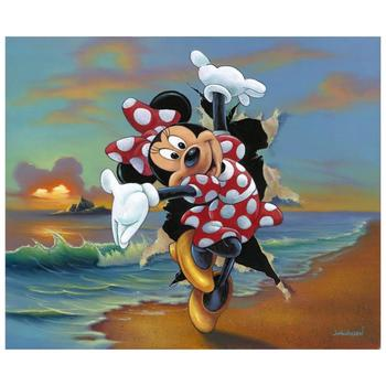 """Jim Warren """"Minnie's Grand Entrance"""" Disney Premier Limited Edition Hand Embellished Giclee on Canvas; Hand Signed; COA"""