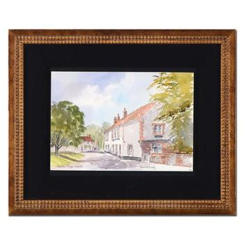 "Martin Goode (1932-2002), ""Thornham Village, Norfolk"" Framed Original Watercolor Painting, Hand Signed with Certificate."