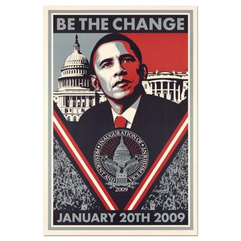 "Shepard Fairey, ""Be the Change"" Barack Obama Inauguration Lithograph, with Letter of Authenticity."