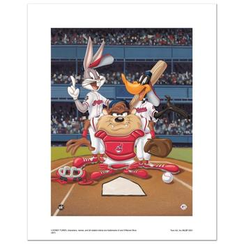 """At the Plate (Indians)"" Numbered Limited Edition Giclee from Warner Bros. with Certificate of Authenticity."