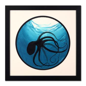 "Wyland, ""Octopus"" Framed Original Watercolor Painting, Hand Signed with Certificate of Authenticity."