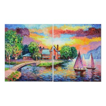 """Alexander Antanenka, """"Friends Sailing"""" Original Oil Diptych Painting on Canvas, Hand Signed with Certificate."""