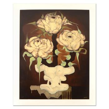 """Brenda Barnum, """"Press Roses"""" Limited Edition Serigraph, Numbered and Hand Signed with Certificate of Authenticity."""