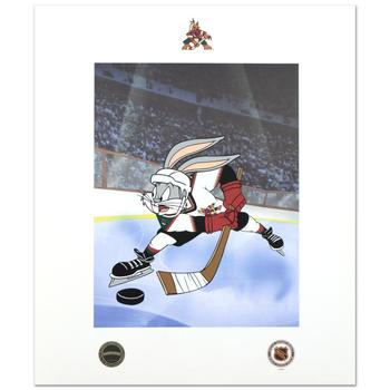 """""""Bugs Bunny (Arizona Coyotes)"""" Collectible Mixed Media Print from Looney Tunes, Bearing Official Seal Looney Tunes & NHL."""