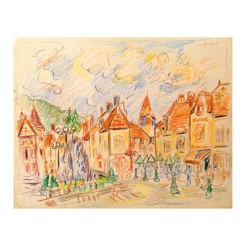 "Wayne Ensrud ""Nuits-Saint-Georges, Burgundy"" Mixed Media Original Artwork; Hand Signed; COA"