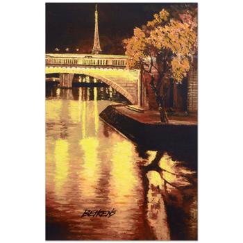 """Howard Behrens (d.2014), """"Twilight on the Seine, I"""" Ltd Ed Embellished Giclee on Canvas No. and Hand Signed w/Cert."""