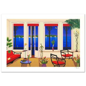 """Fanch Ledan, """"Balcony Over Bahia"""" Limited Edition Serigraph, Numbered and Hand Signed with Certificate."""