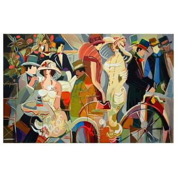 """Isaac Maimon, """"Cafe Romantique"""" Limited Edition Serigraph, Numbered and Hand Signed with Letter of Authenticity."""