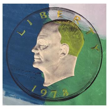 """Steve Kaufman """"1978 Eisenhower Dollar"""" One of a kind Hand Painted Silkscreen Numbered 7/50 and Hand Signed."""
