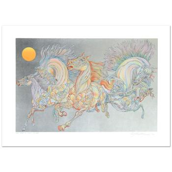 """Guillaume Azoulay, """"Lever De Soleil"""" Limited Edition Serigraph w/Hand Laid Silver Leaf, Numbered and Hand Signed w/Cert."""