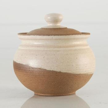 Eugenijus Tamosiunas. Hand Made Ceramic Jar with Lid, Hand Signed by the Artist.