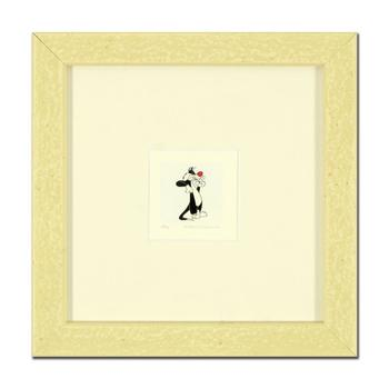 """""""Sylvester"""" Framed Limited Edition Etching with Hand-Tinted Color and Numbered."""