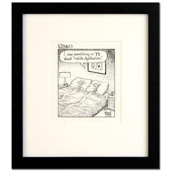 """Bizarro, """"Reptile Dysfunction"""" is a Framed Original Pen & Ink Drawing by Dan Piraro, Hand Signed by the Artist with COA."""