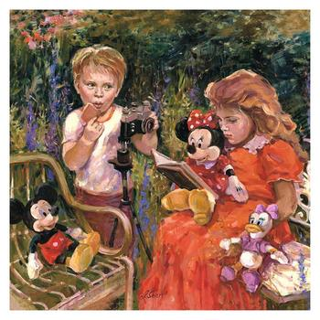 """""""Reading to Minnie"""" Embellished Limited Edition on Canvas by Irene Sheri from Disney Fine Art; Numbered, Signed, with COA."""