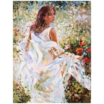 """Igor Semeko, """"Lady in White Dress"""" Hand Signed Limited Edition Giclee on Canvas with Letter of Authenticity."""