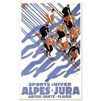 """""""Sports D'Hiver"""" Hand Pulled Lithograph (24"""" x 39"""") by the RE Society, Image Orig. by Eric De Coulon w/Cert."""