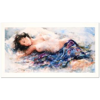 """Gary Benfield, """"White Chemise"""" Ltd Ed Seriolithograph with Gold Leaf, Numbered and Hand Signed with LOA."""