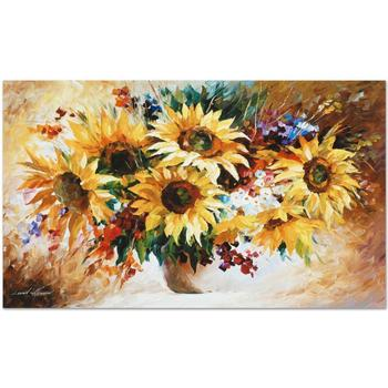 """Leonid Afremov """"Sunflowers"""" Limited Edition Giclee on Gallery Wrapped Canvas, Numbered and Signed; COA."""