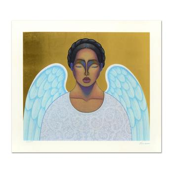 """Nivia Gonzales (1946-2017), """"Angelita"""" Ltd Ed Serigraph with Gold Leaf, Numbered and Hand Signed with Certificate."""