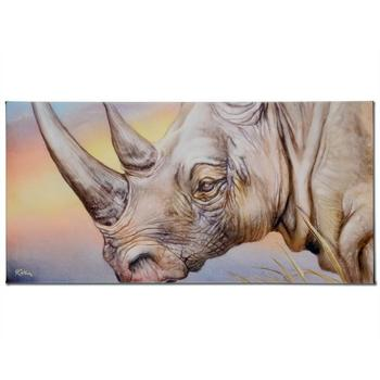 """Martin Katon, """"White Rhino"""" Ltd Ed Giclee on Gallery Wrapped Canvas, Numbered and Hand Signed with Certificate."""