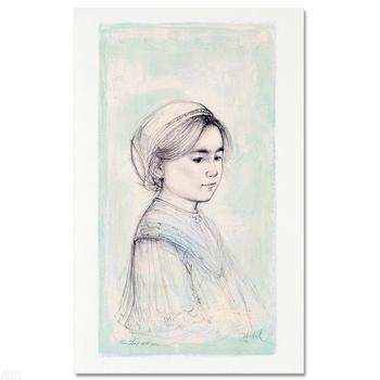 """Edna Hibel (1917-2014), """"Ursina"""" LIMITED EDITION Lithograph, Numbered and Hand Signed with COA of Authenticity."""