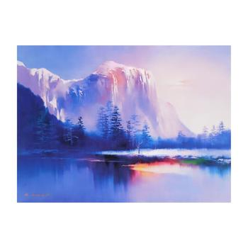 """H. Leung, """"Glacier Lake"""" Limited Edition on Canvas, Numbered and Hand Signed with Letter of Authenticity."""