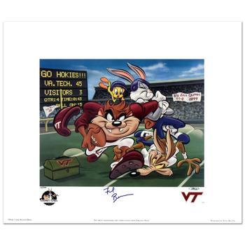 "Warner Bros., ""Virginia Tech"" Ltd Ed Lithograph, No. & Hand Signed by Virginia Tech Head Coach, Frank Beamer w/Cert."