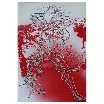 "Mark Kostabi, ""Euphoric Anarchy"" Mixed Media Original Painting; Hand Signed; COA"