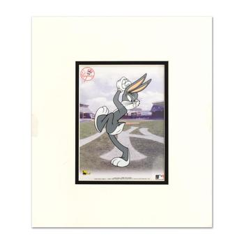 """""""Bugs Bunny Pitching with the Yankees"""" Limited Edition Sericel by Looney Tunes with the MLB Logo and Yankees Logo."""