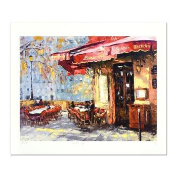"""Elena Bond, """"Quiet Cafe"""" Hand Embellished Limited Edition Mixed Media, Numbered and Hand Signed with LOA."""