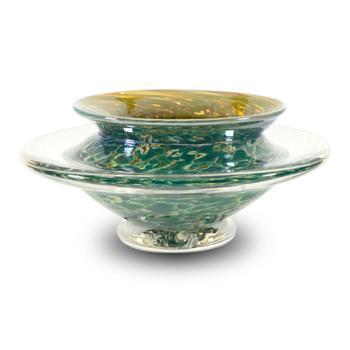 """""""Ikebana Flower Bowl"""" Hand Blown Glass Sculpture, Hand Signed by GartnerBlade Glass. List $138"""