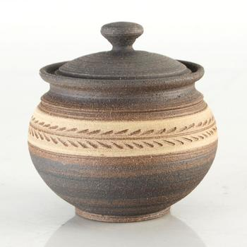Eugenijus Tamosiunas. Hand Made Ceramic Jar with Lid, Hand Signed by the Artist.