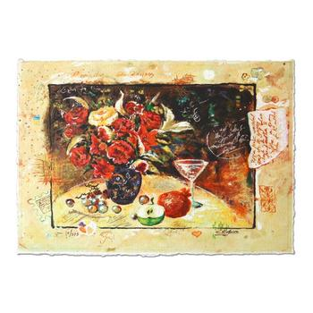 """Sergey Kovrigo, """"Wine and Roses"""" Hand Signed Limited Edition Serigraph with Letter of Authenticity."""