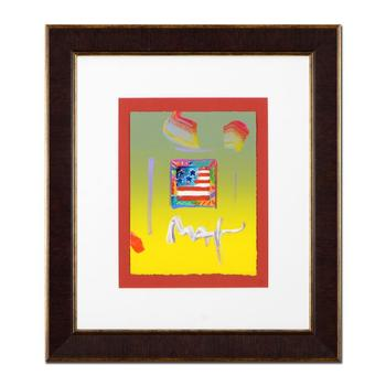"""Peter Max, """"Flag"""" Framed One-Of-A-Kind Acrylic Mixed Media, Hand Signed with Certificate of Authenticity from Peter Max Studios."""