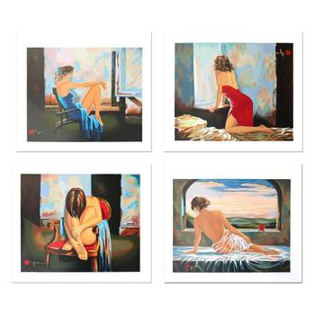 """Alexander Borewko, """"Lady In Red, Sensual Moments, Lady In Blue, Sweet Morning"""" Hand Signed Limited Edition Serigraph Set; LOA"""